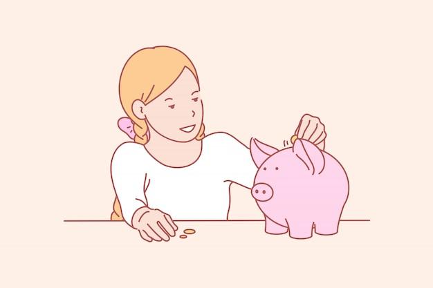 Dinheiro, poupança, infância, ilustração de habilidade