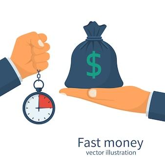 Dinheiro rápido. concessão de um empréstimo em pouco tempo.