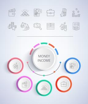 Dinheiro renda comércio eletrônico web botões negócios