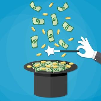 Dinheiro saindo do chapéu mágico