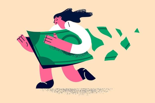 Dinheiro solto e conceito de perda financeira