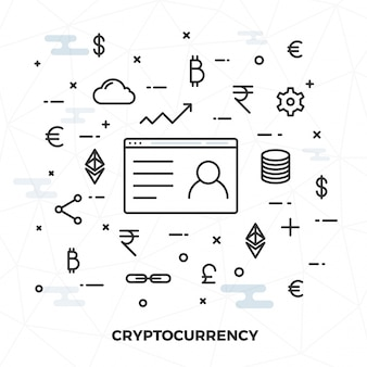 Dinheiro virtual, criptografia ou conceito de dinheiro na internet, ilustração de estilo plano.