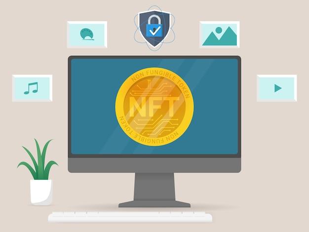 Dinheiro virtual simbólico não fungível no computador