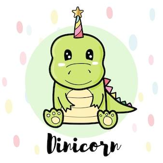 Dinicorn bonito dos desenhos animados, dinossauro verde