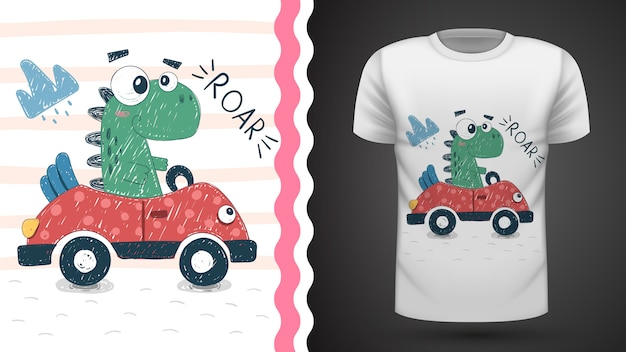 Dino bonito com ideia de carro para impressão t-shirt