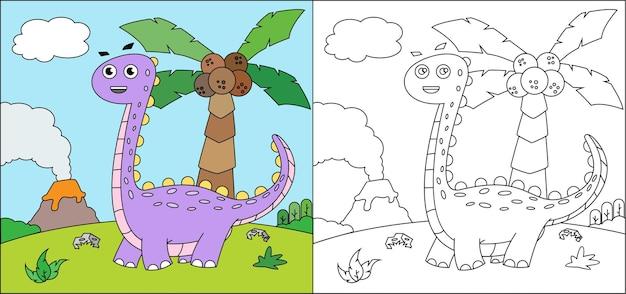 Dino de desenho de livro para colorir