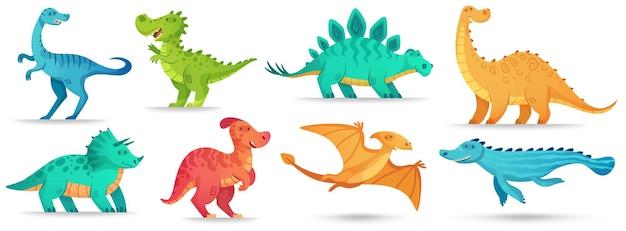 Dino dos desenhos animados. dinossauro fofo, brontossauro antigo engraçado e triceratops verdes.
