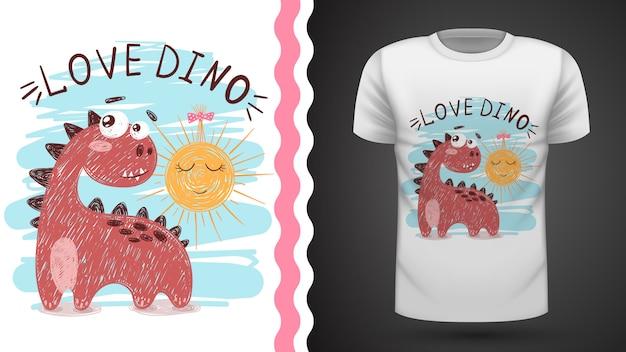 Dino e sol - ideia para impressão t-shirt
