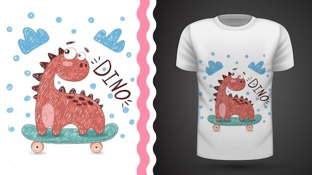 Dino esporte skate idéia para impressão t-shirt