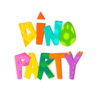 Dino festa bonito mão letras texto. ilustração para camisetas infantis, festa de dinossauros, aniversários, cartões, convites, modelo de banners.