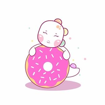 Dino fofo abraçando uma ilustração do ícone de desenho animado de donut