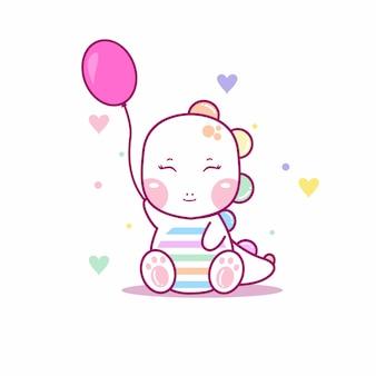 Dino fofo para roupas de bebê e cartão de convite