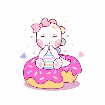 Dino fofo sentado na ilustração do ícone de desenho animado de donut