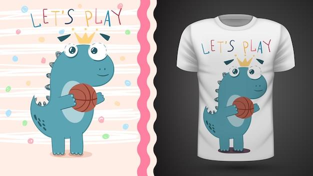 Dino jogar cesta - idéia para impressão t-shirt