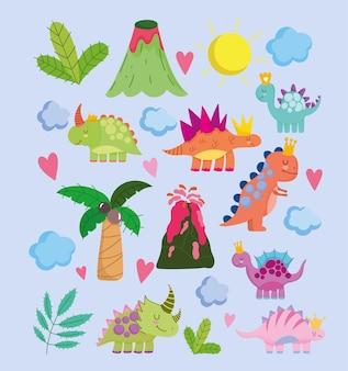 Dinos fofos vulcão palma sol nuvens natureza cartoon conjunto