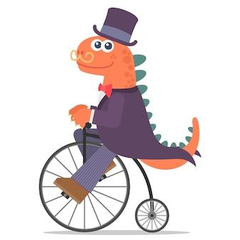 Dinossauro adorável com um sorriso andando de bicicleta velha. estilo dos desenhos animados. ilustração. estilo design plano.