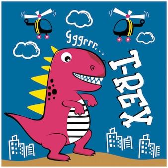 Dinossauro ataque cidade engraçado animal dos desenhos animados, ilustração vetorial