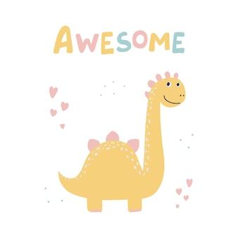Dinossauro bonito com gráfico de slogan - desenhos animados incríveis e engraçados de dino.