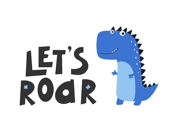 Dinossauro bonito com slogan gráfico - rugido, desenhos animados engraçados de dino.