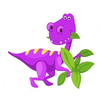 Dinossauro bonito dos desenhos animados de ilustração isolado no fundo branco