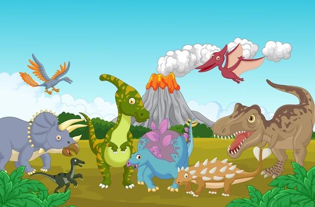 Dinossauro bonito feliz
