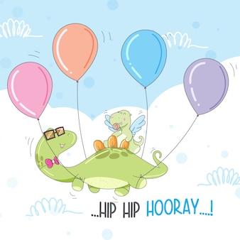 Dinossauro bonito voa com um balão livre