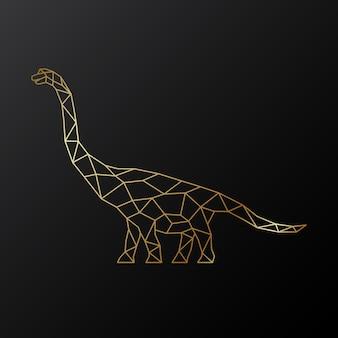 Dinossauro braquiossauro poligonal dourado