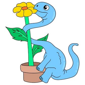 Dinossauro comendo girassol no final da panela, arte de ilustração vetorial. imagem de ícone do doodle kawaii.