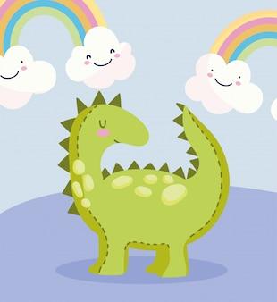 Dinossauro de brinquedo com arco-íris