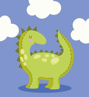 Dinossauro de brinquedo com nuvens