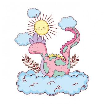 Dinossauro de conto de fadas com nuvens e sol