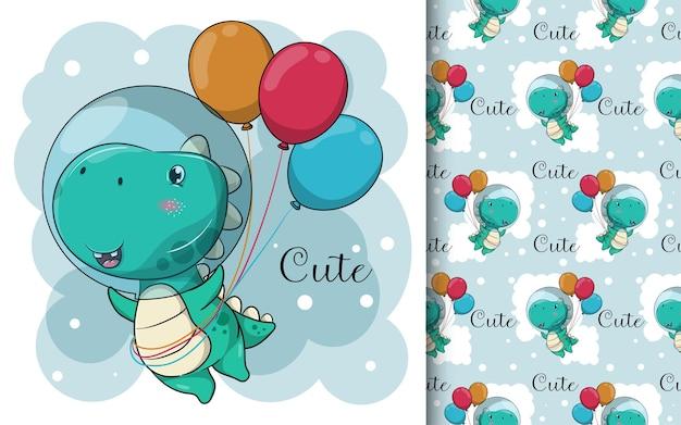 Dinossauro de desenho animado bonito com balões