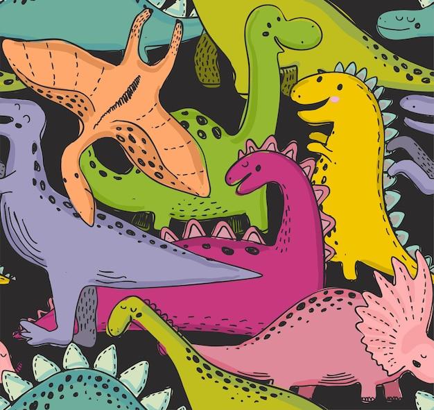 Dinossauro de sagacidade de padrão sem emenda de vetor