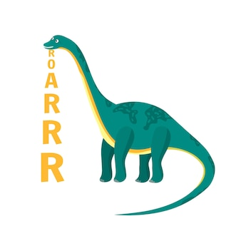 Dinossauro diplodocus de desenho animado plano com texto vertical de rugido