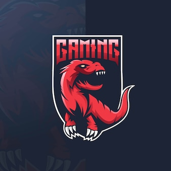 Dinossauro esporte mascote logotipo design ilustração