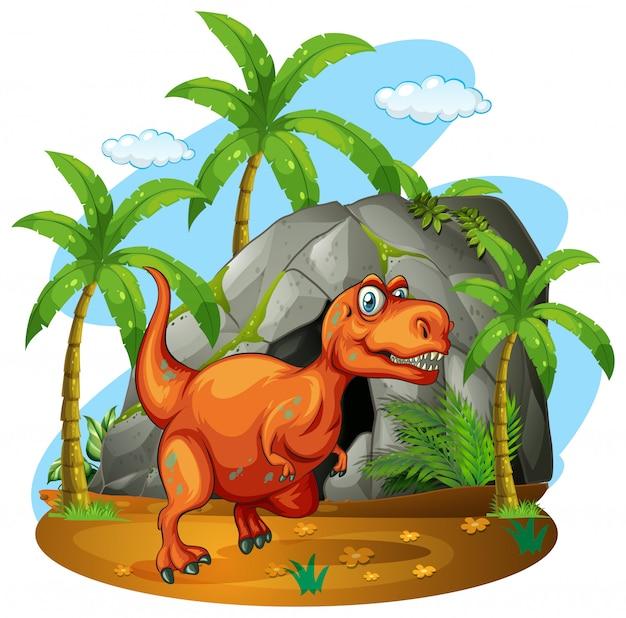 Dinossauro, ficar, frente, caverna