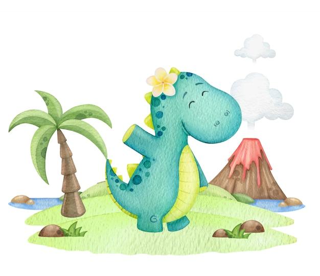 Dinossauro fofo acena a mão em uma ilha com um vulcão