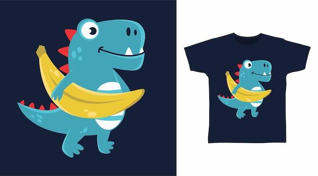 Dinossauro fofo com design de camiseta de banana