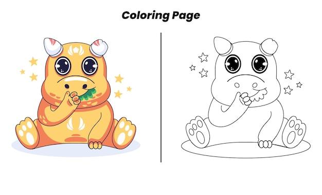Dinossauro fofo com página para colorir