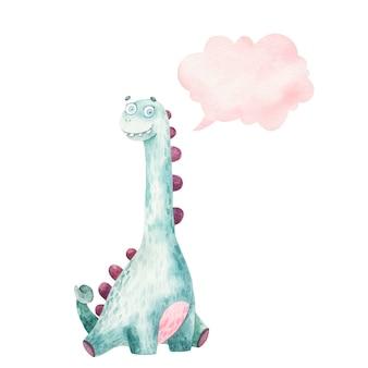 Dinossauro fofo com pescoço longo e ícone de pensamento, nuvem, ilustração em aquarela para crianças