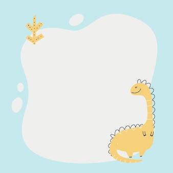 Dinossauro fofo com uma moldura de borrão no estilo simples dos desenhos animados desenhados à mão.