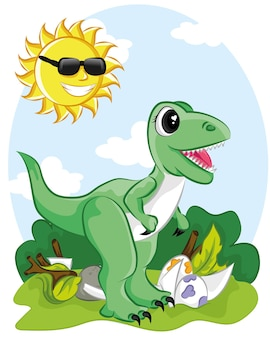 Dinossauro fofo desenhado como vetor para impressão em t-shirt