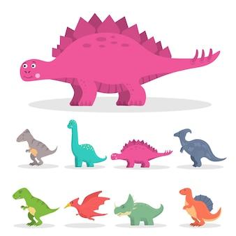 Dinossauro fofo engraçado brontossauro antigo e triceratops verde plano em estilo infantil Vetor Premium