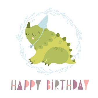Dinossauro fofo feliz aniversário