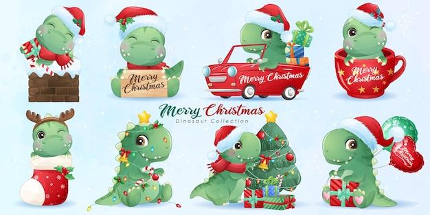 Dinossauro fofo para feliz natal com conjunto de ilustração em aquarela