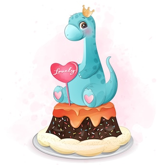 Dinossauro fofo sentado na ilustração do bolo