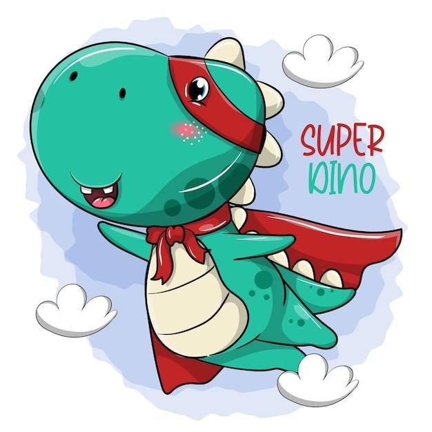 Dinossauro herói de desenho animado fofo