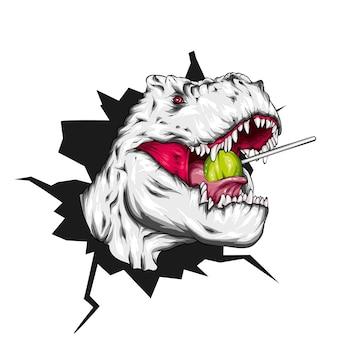 Dinossauro legal com pirulito.