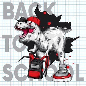 Dinossauro legal com um boné e uma mochila escolar.