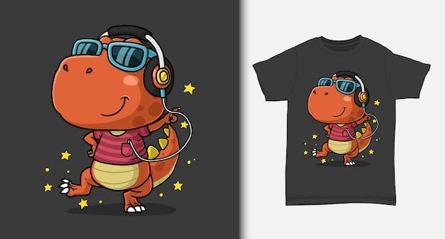 Dinossauro legal dançando com design de camiseta